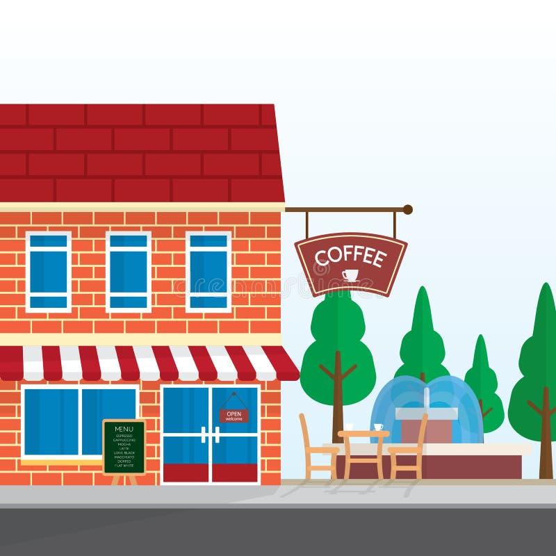 Coffee shop med den utomhus- tabellen och trädgården stock illustrationer