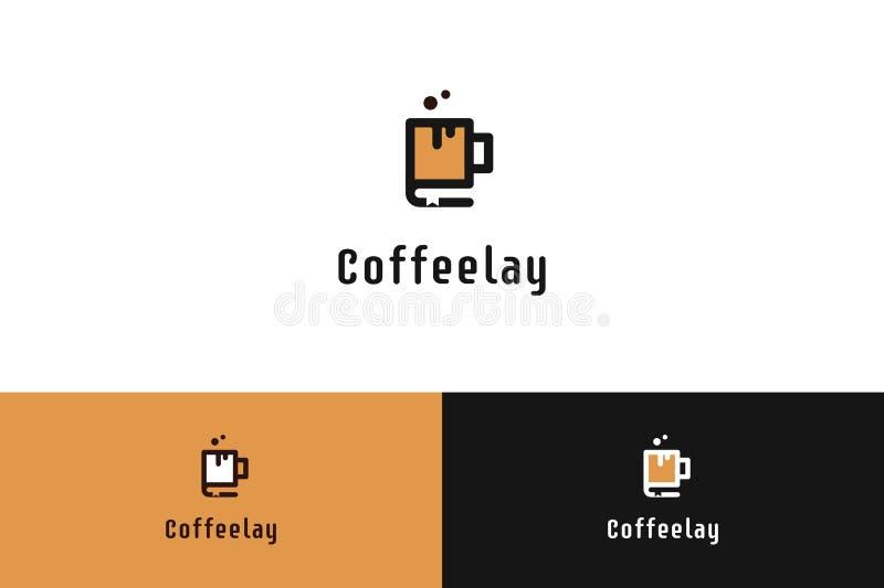 Coffee shop med Smiley Cup Logo Illustration vektor illustrationer