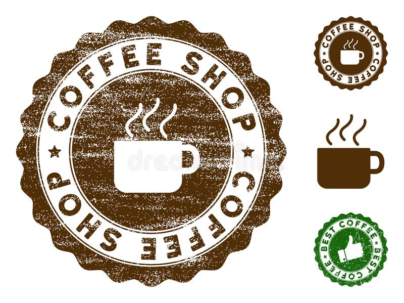 Coffee Shop Stamp Seal with Grungy Effect vector illustration