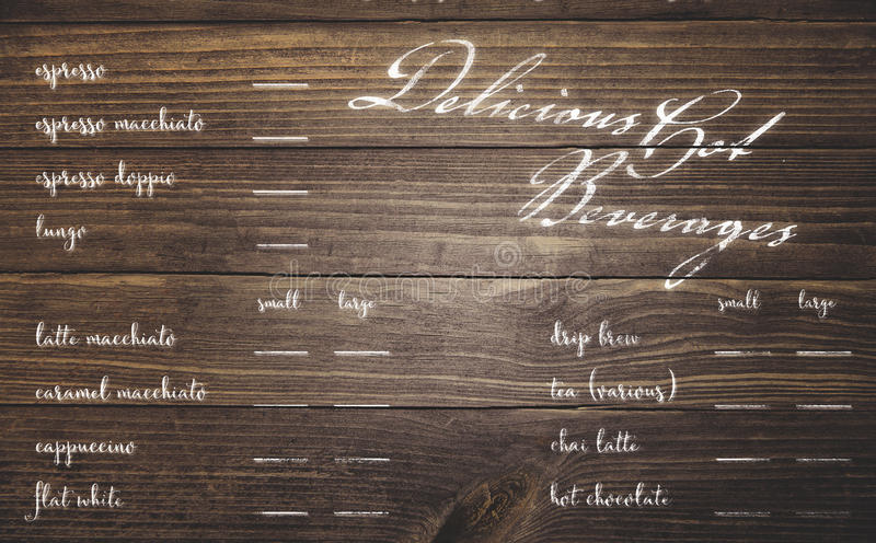 Coffee shop menu. Cafe coffee shop menu painted on rustic wood planks stock image