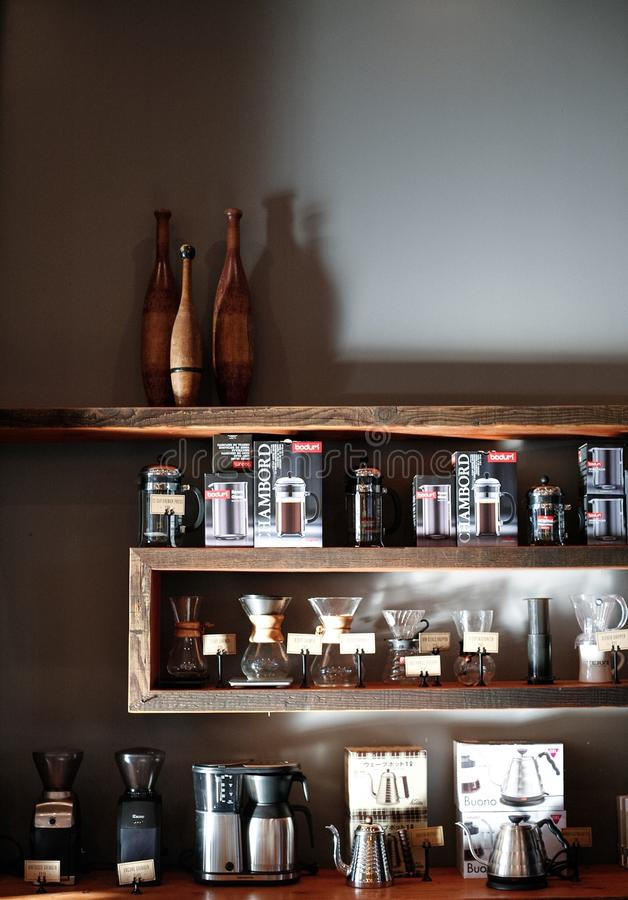 coffee shop merchandise royalty free stock photo