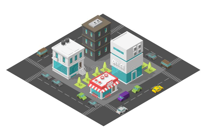 Coffee shop near the office. City street cafe. Town district quarter Isometric the road around. Cars end buildings top view 3d. Vector illustration stock stock illustration