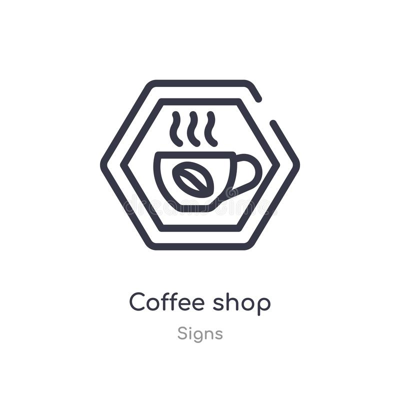 coffee shop outline icon. isolated line vector illustration from signs collection. editable thin stroke coffee shop icon on white vector illustration