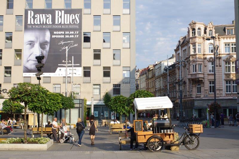 Coffee shop på en cykel i Europa arkivbilder