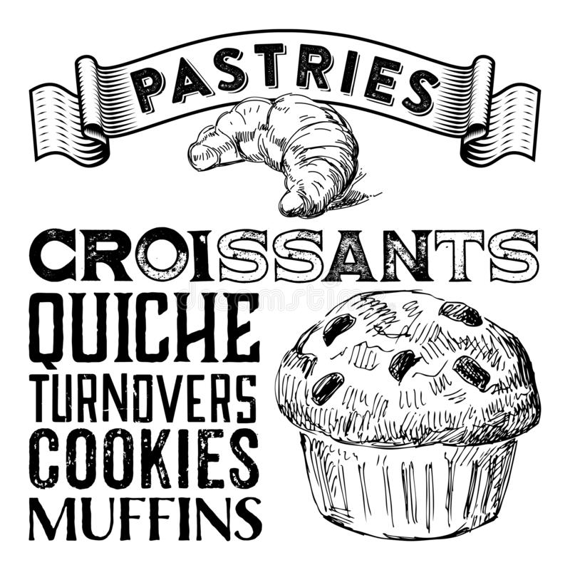 Coffee Shop Pastry Cafe Tea House Typography Sketch. Collection Sweets and Treats perfect for Window Clings and Posters, Coasters, Product Design Packaging royalty free illustration