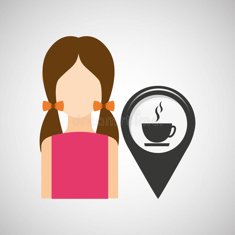 Coffee shop pointer map girl royalty free illustration