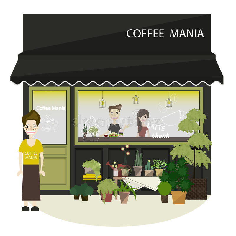 Coffee shop and restaurant interior Flat Style royalty free stock image