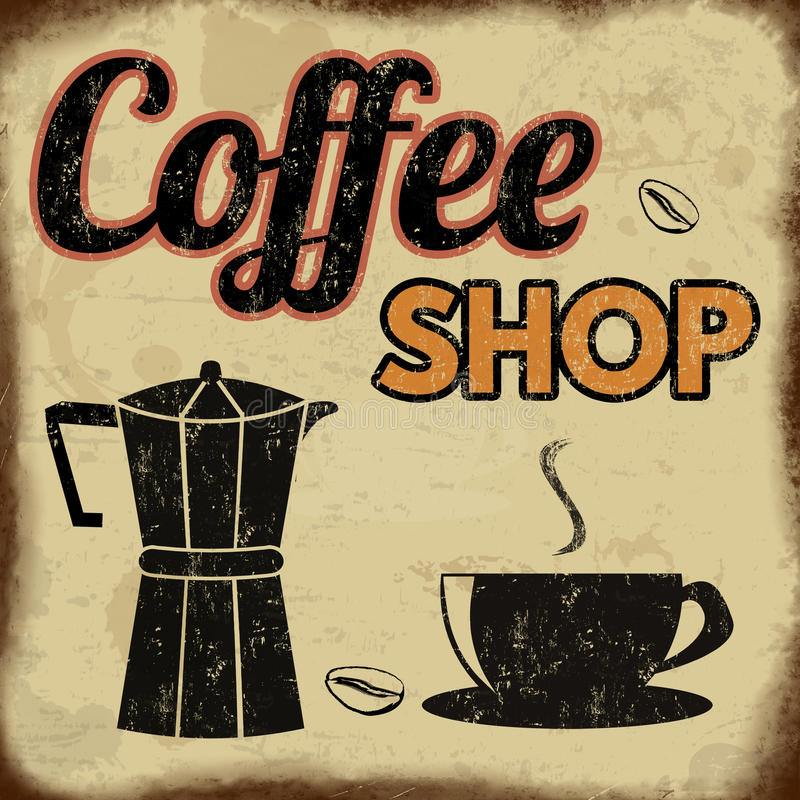 Coffee shop retro poster royalty free illustration