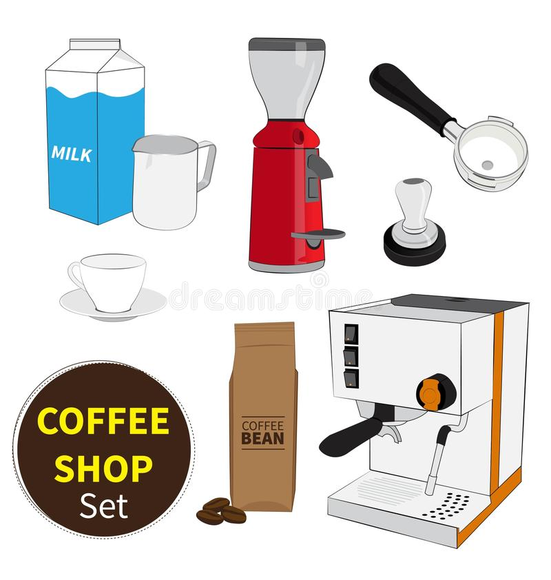Coffee shop set. On white background royalty free illustration