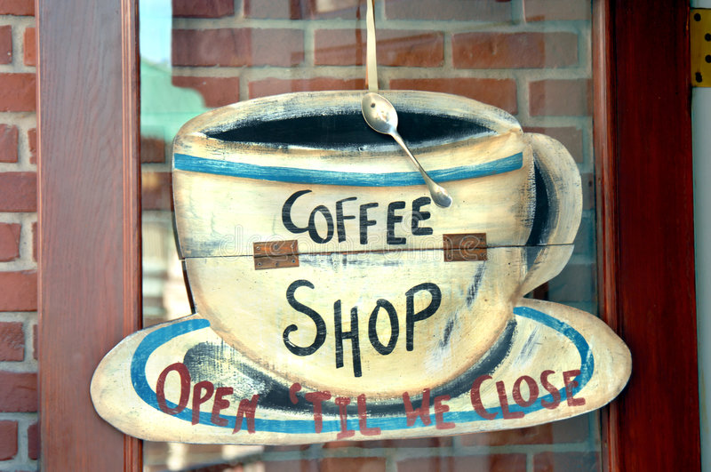 Coffee Shop Sign. Coffee shop closed and open sign. Metal spoon is nailed to cups rim stock images