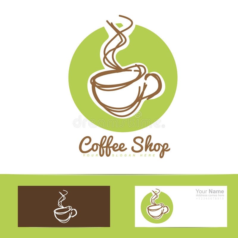 Coffee shop stylized hand drawing logo cup stock illustration