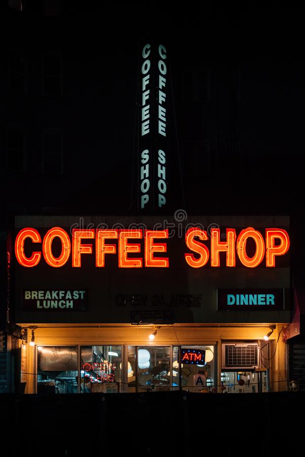 A coffee shop on 14th Street, in the East Village, Manhattan, New York City stock photos