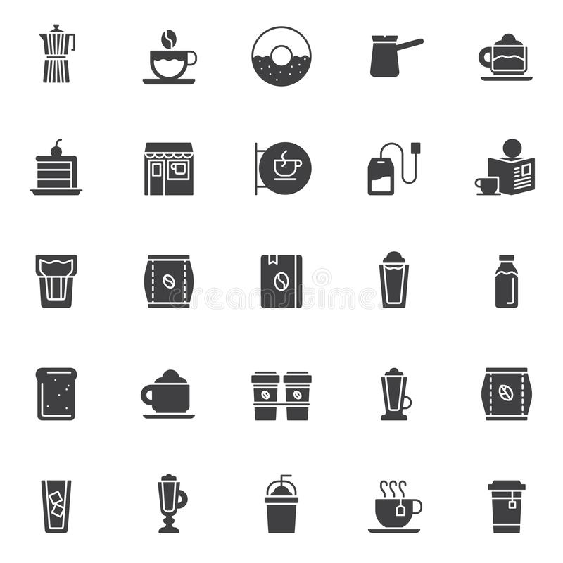 Coffee shop vector icons set royalty free illustration