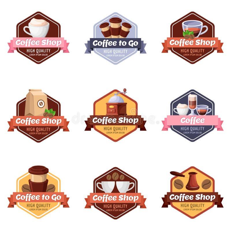 Coffee shop vector logo, label, sticker, emblem set. Cafe or restaurant breakfast menu isolated design elements. vector illustration