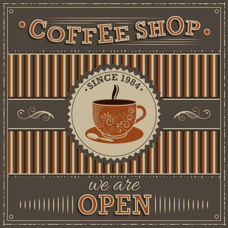 Coffee Shop vintage illustration. Label with orange cup of coffee and inscription open. vector illustration