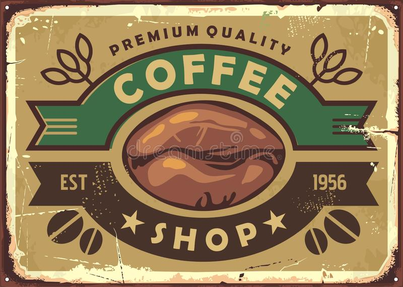 Coffee shop vintage old sign post with coffee bean royalty free illustration