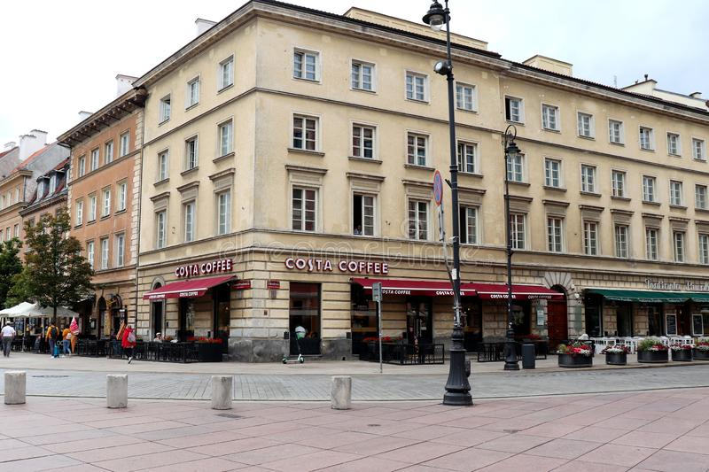 Coffee shop in Warsaw, Poland. Costa Coffee, a coffee shop in Warsaw, Poland on a street corner by Old Town royalty free stock photos