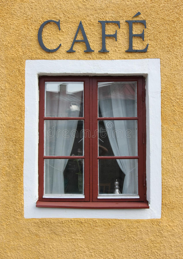Coffee Shop Window. Coffee shot window with cafe sign stock image