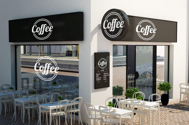 coffee shopfasad med skyltar och att brännmärka beståndsdelmodellen royaltyfri illustrationer