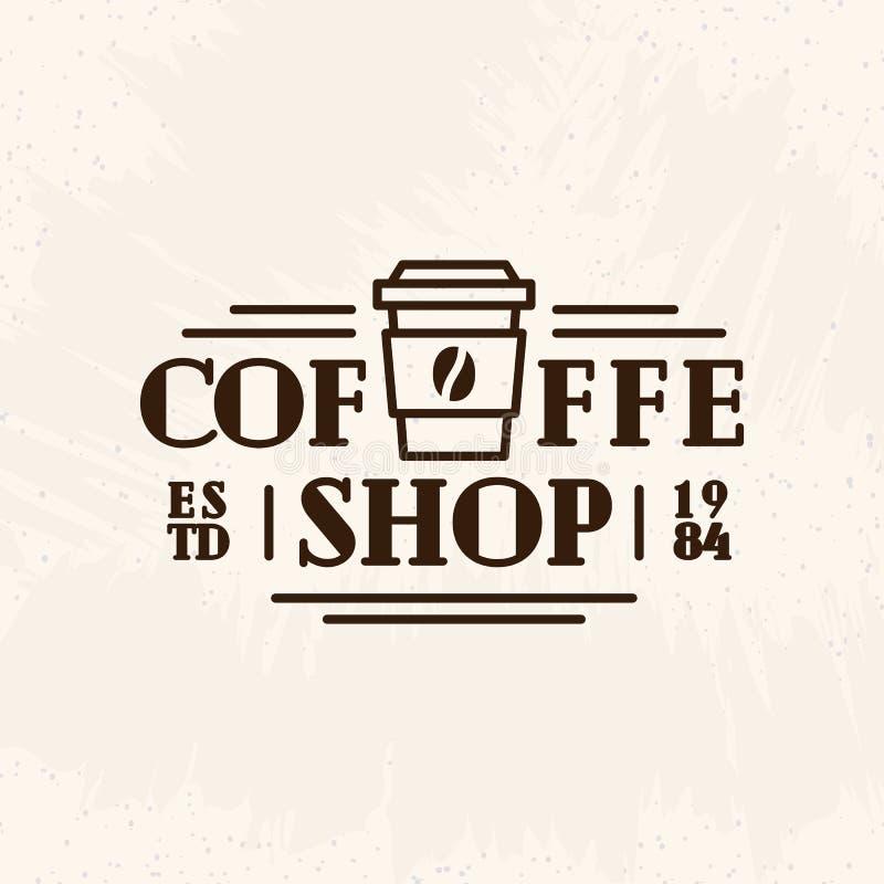 Coffee shoplogo med den pappers- linjen stil som för kopp kaffesvartfärg isoleras på bakgrund för kafé vektor illustrationer