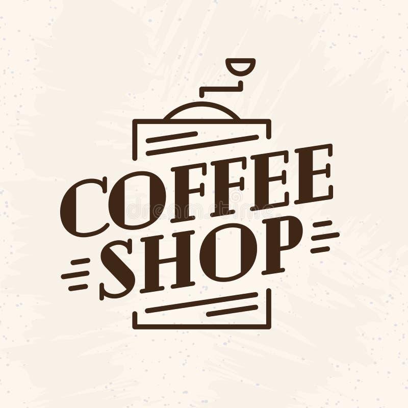 Coffee shoplogo med kaffemaskinlinjen stil som isoleras på baksida vektor illustrationer