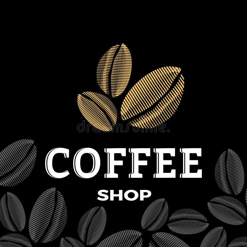 Coffee shoplogo med tre bönor stock illustrationer