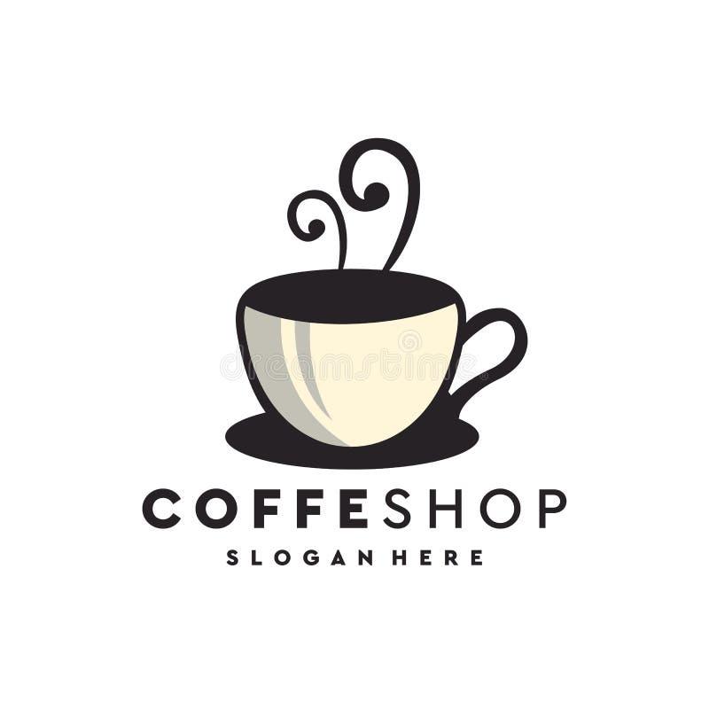Coffee shoplogodesign, vektor, illustration som är klar att använda stock illustrationer