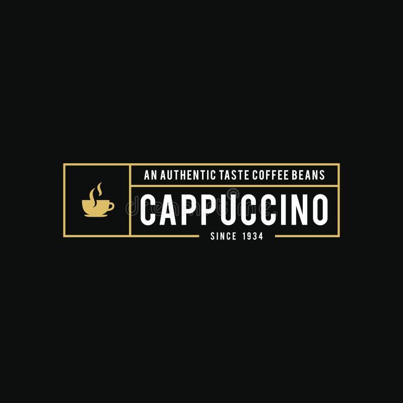 Coffee shoplogoen, koppen, bönor, tappningstil anmärker den retro vektorillustrationen royaltyfri illustrationer