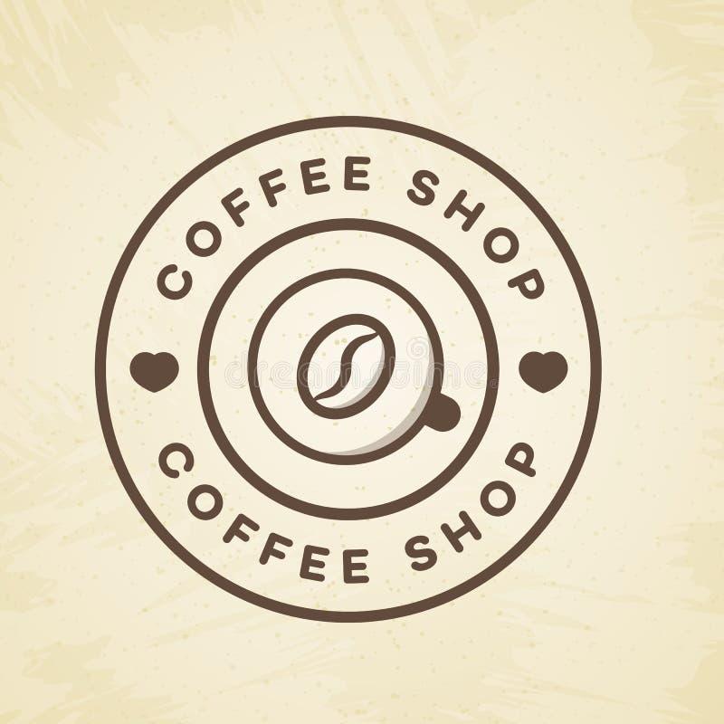 Coffee shoplogoen med kopp kaffe- och bönalinjen stil på bakgrund för kafé, shoppar vektor illustrationer