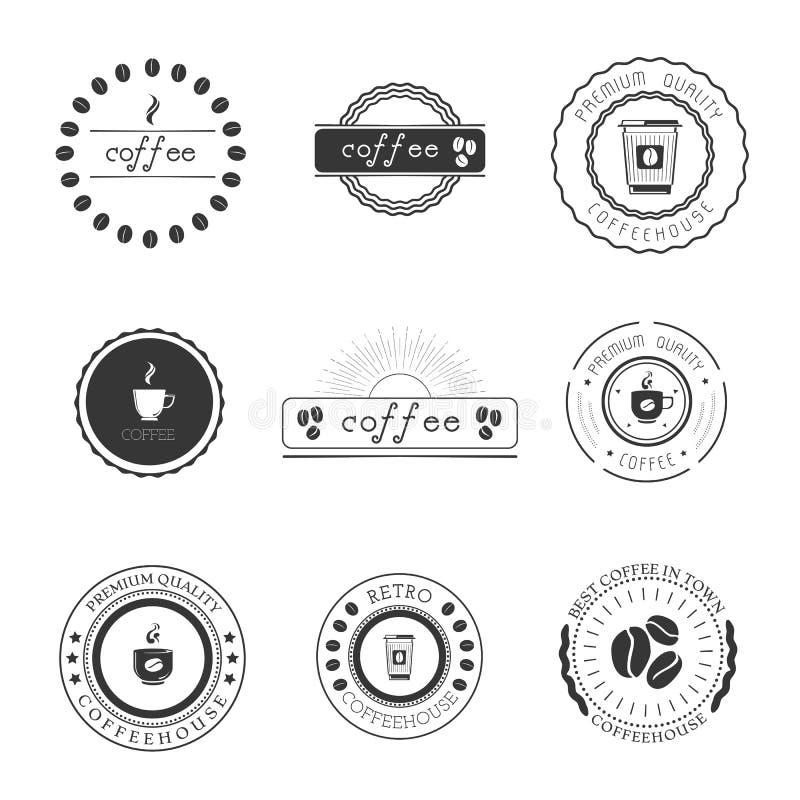 Coffee shoplogoer, förser med märke, och etiketter planlägger beståndsdeluppsättningen stock illustrationer