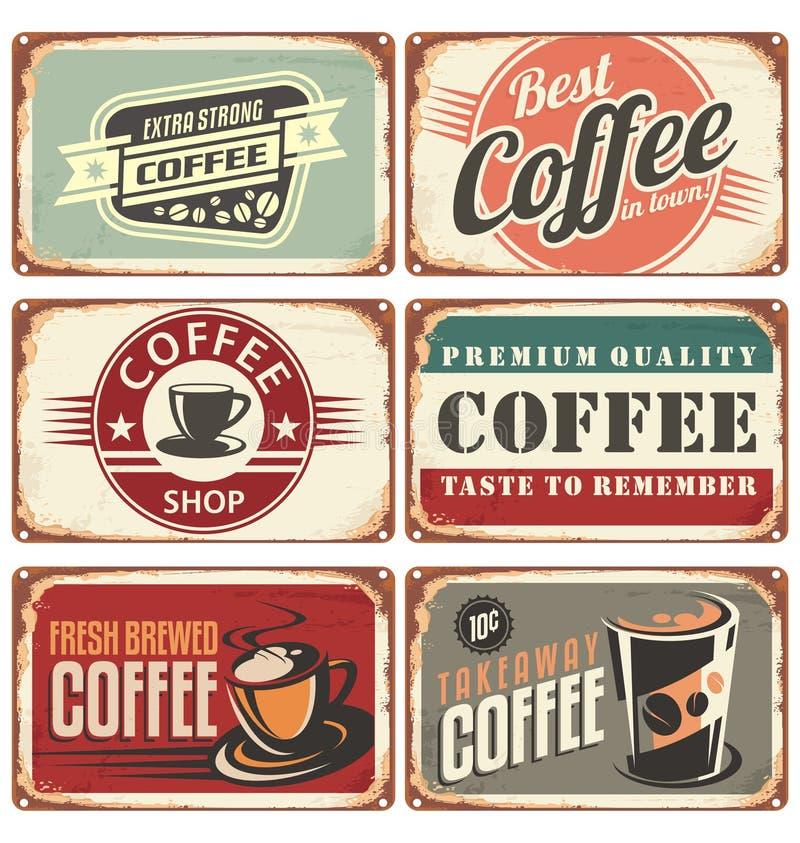 Coffee shopmetall undertecknar samlingen royaltyfri illustrationer