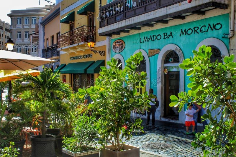 Coffee shops in Old San Juan. Colorful coffee shops in Old San Juan stock photo