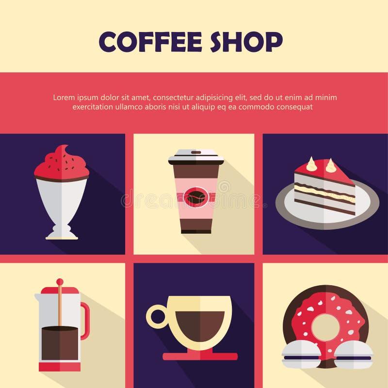 Coffee shopsymbolsuppsättning Konfektsymboler Plan vektorillustration royaltyfri illustrationer