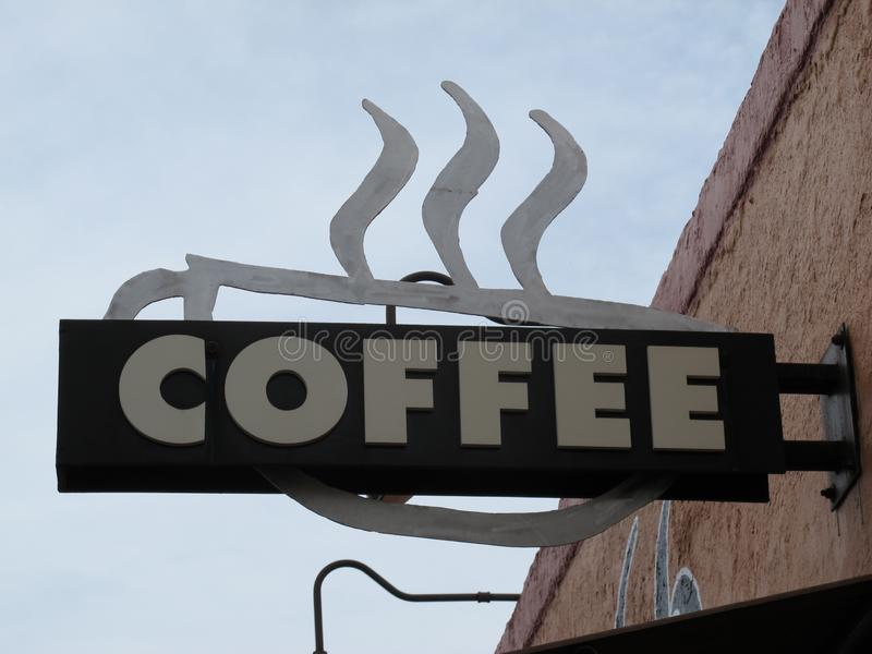 Coffee sign above a cafe in flagstaff Arizona stock image