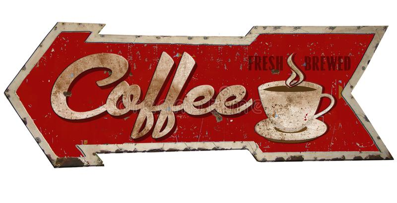 Coffee Sign Retro Arrow Rusted. Retro Vintage Coffee Sign with Arrow Rusted Tin Red Shop 50`s royalty free illustration