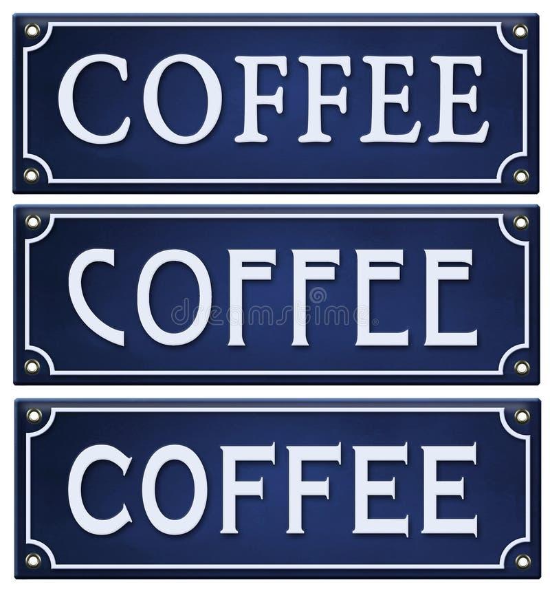 Coffee Sign Vintage Enamel blue embossed metal tin vector illustration