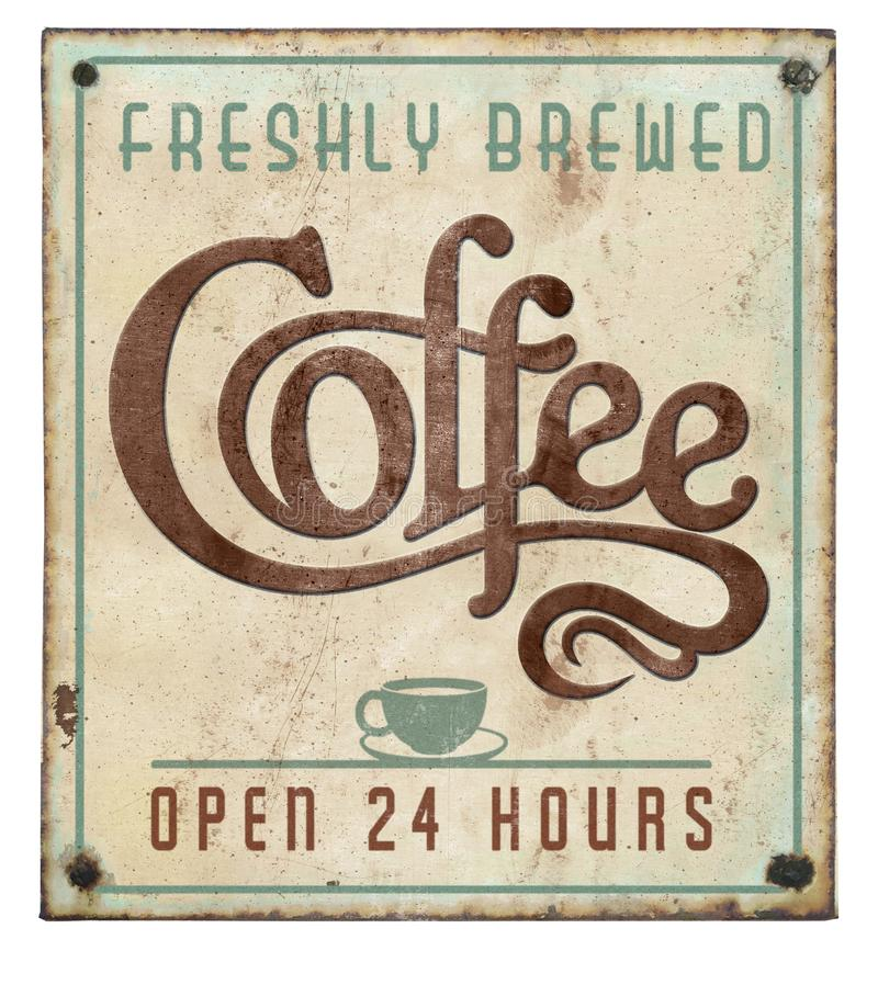 Coffee Sign Vintage on Tin Embossed Open 24 Hours stock photography