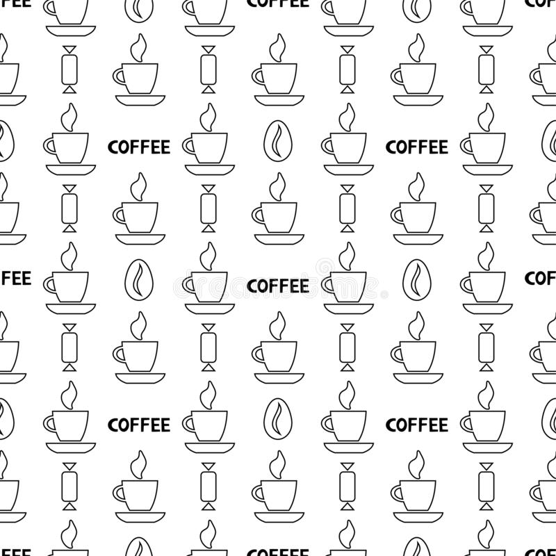 Coffee simple seamless pattern. Outline vector background stock illustration