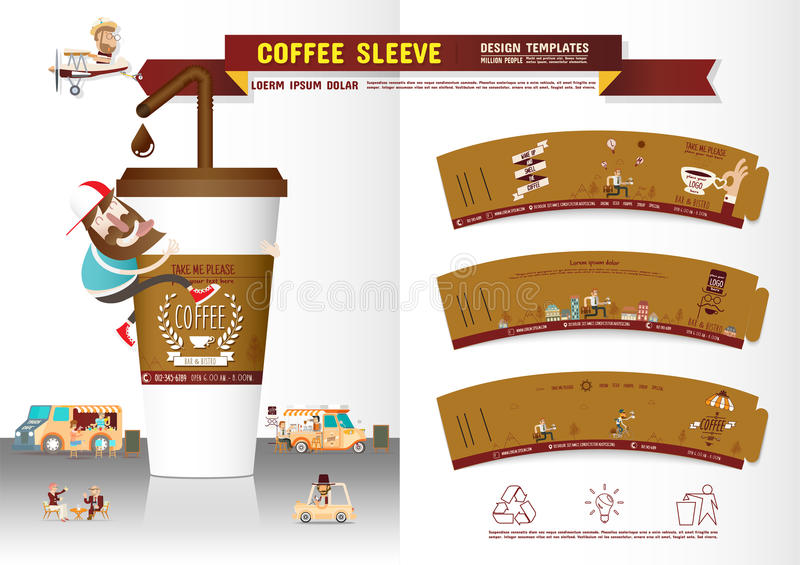 Coffee Sleeve Design Template royalty free illustration