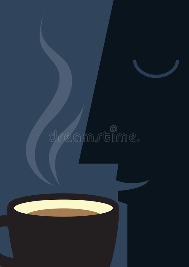 Coffee Smell. Man drink coffee , coffe cup stock illustration