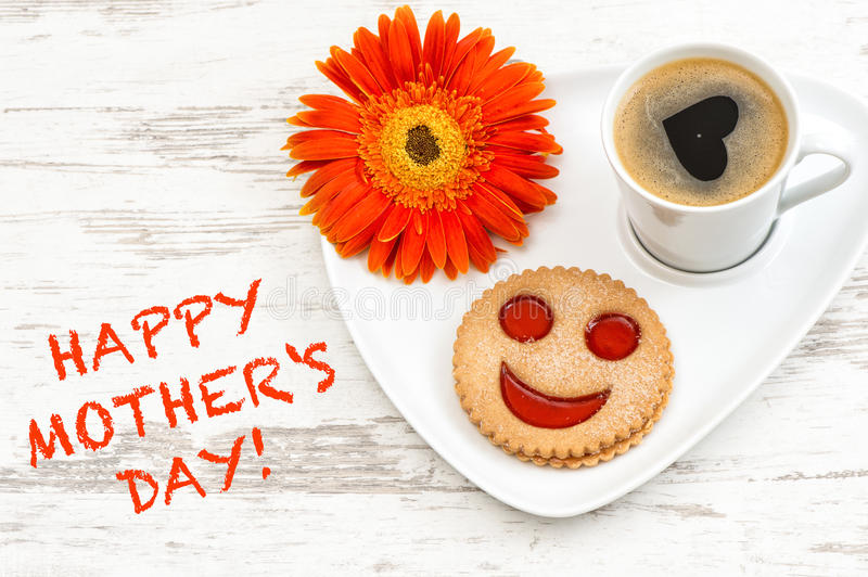 Coffee smiled cookie Heart love flower Happy Mothers Day stock photo