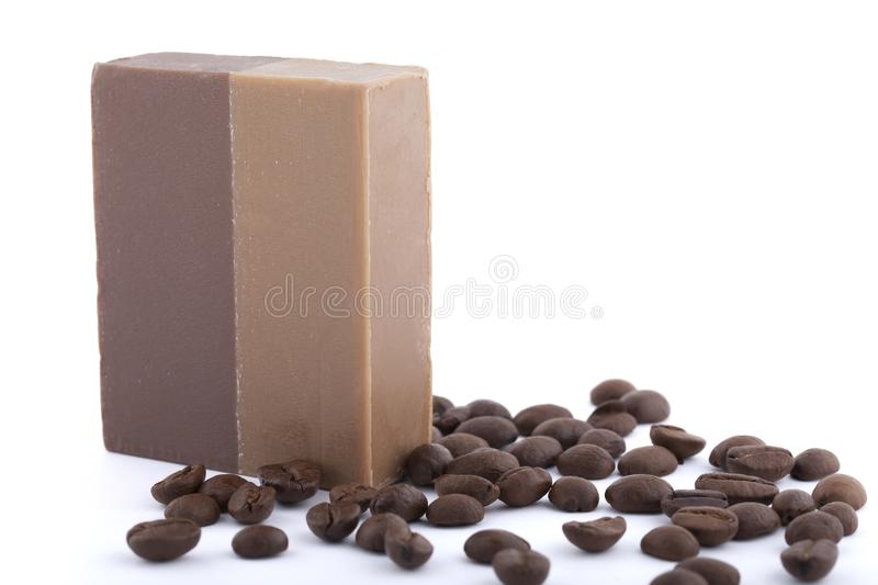 Coffee soap with coffee beans isolated on white background stock images