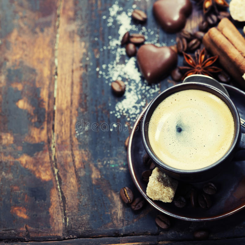 Coffee and spices stock photography