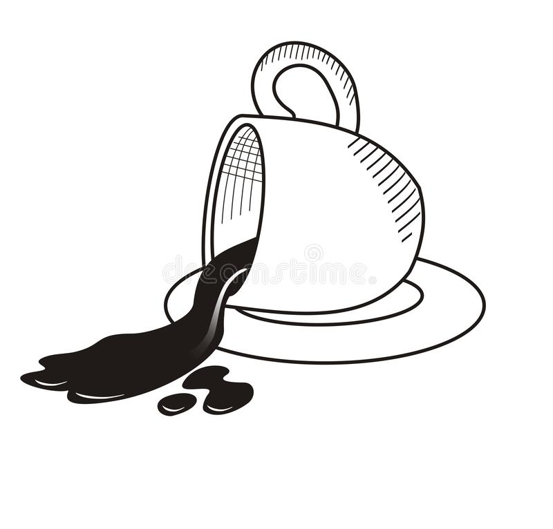 Coffee spilled from inside the cup hand drawn sketch stock illustration