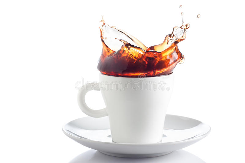 Download Coffee splash in a cup stock image. Image of flow, black - 26594659