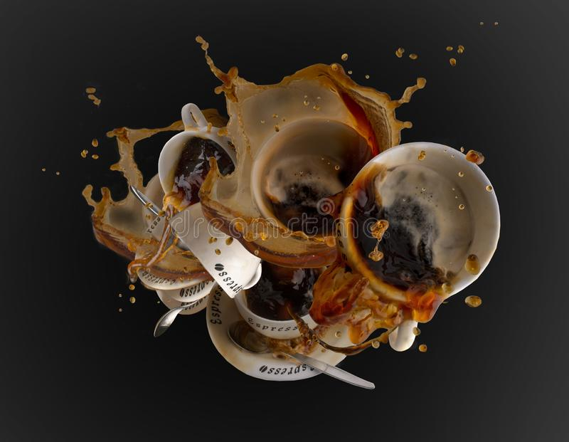 Coffee splash food art. Several coffee cups collapsing, splash and crash into each other stock photography