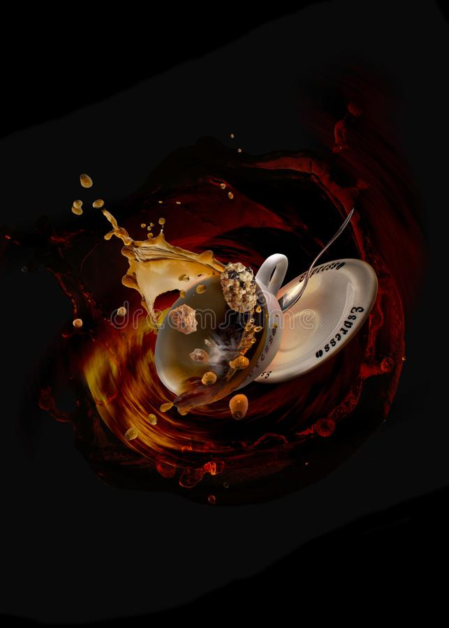 Coffee splash food art. Several coffee cups, splash and crash into each other stock photo