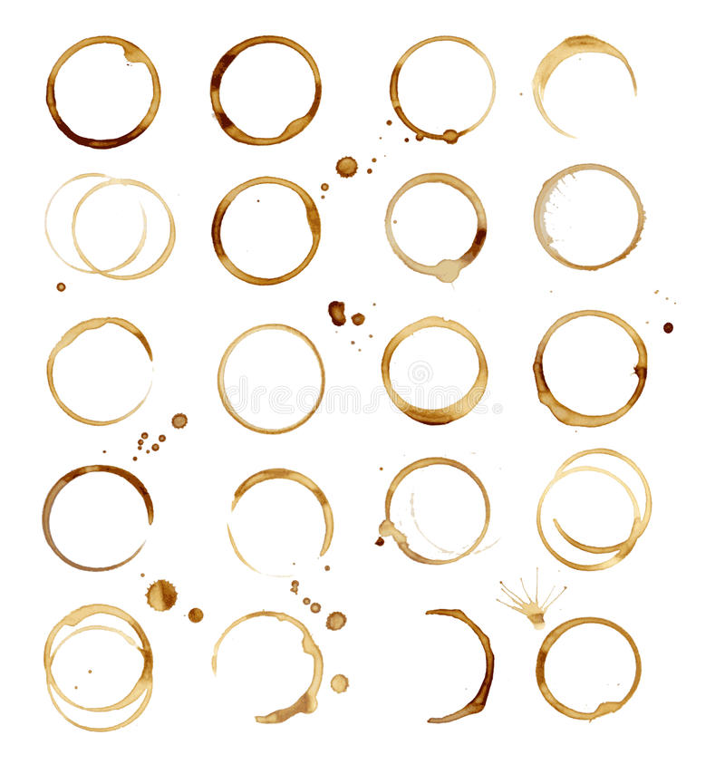 20 Coffee Stain stock illustration