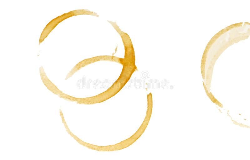 Coffee stain rings. Isolated on white background royalty free stock photos