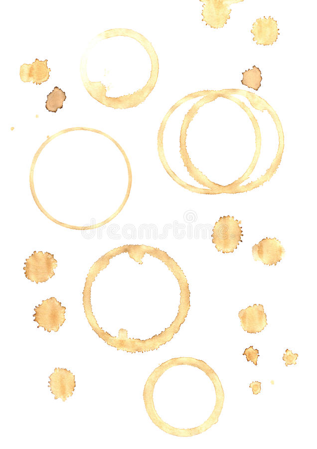 Coffee stains. Collection of coffee cup stains, spills and drops - isolated on white background stock photography